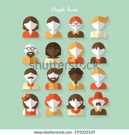 People icons in flat modern style. Vector illustration - stock vector