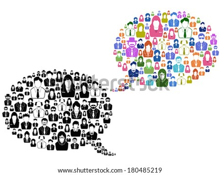 people icons in speech bubble - stock vector