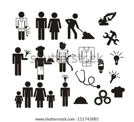 people icons isolated over white background. vector illustration - stock vector