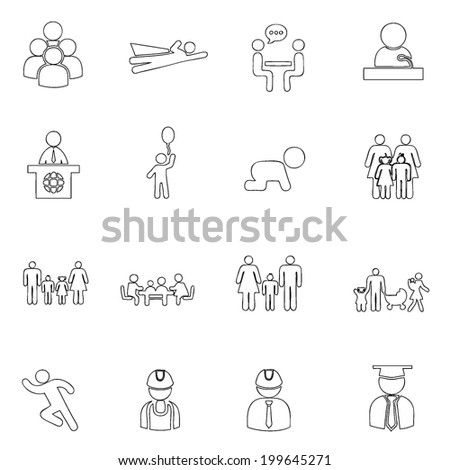 People icons line  drawing by hand Set 2 - stock vector
