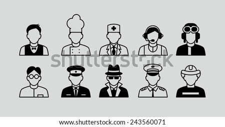 People icons. Occupations. Professions. Human resources. - stock vector