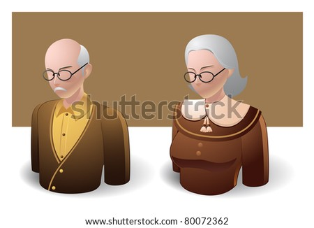 people icons : old man and old women - stock vector