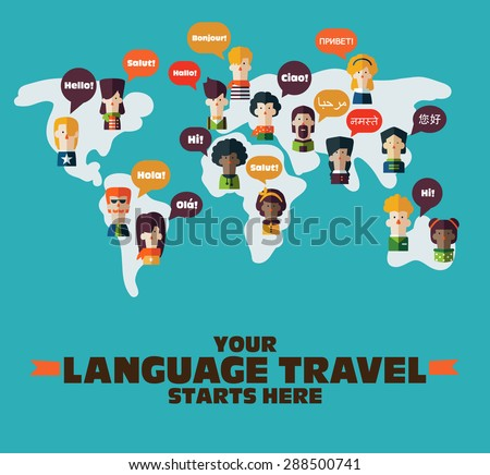 People Icons on World map with Speech Bubbles in different languages. Communication and People Connection Concept. Flat Design. Vector Illustration - stock vector