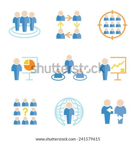people icons, organization management, business management icons set - stock vector