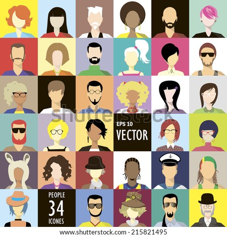 People icons. People icons set. - stock vector