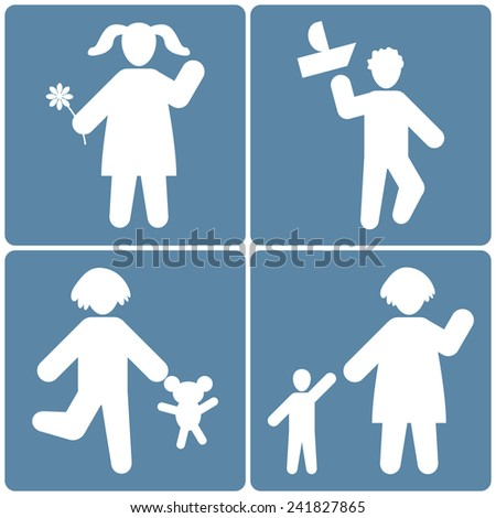 People icons set, children white silhouette on blue background, vector illustration - stock vector