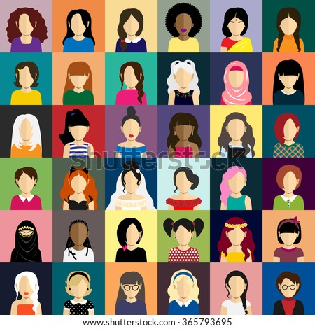 People icons set in flat style with faces of women ang girls - stock vector