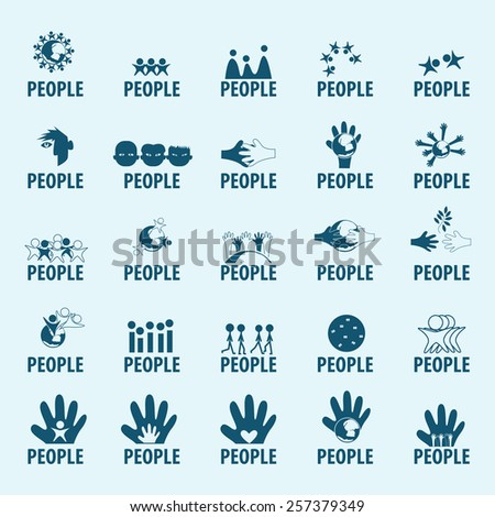 People Icons Set - Isolated On Blue Background - Vector Illustration, Graphic Design, Editable For Your Design - stock vector