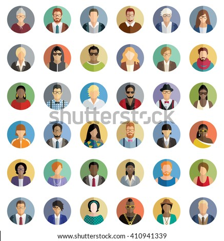 People Icons - Set of thirty-six icons. - stock vector