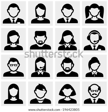 People icons set on gray - stock vector