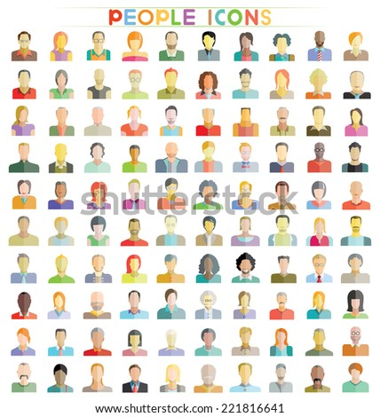 people icons set, people flat design icons - stock vector
