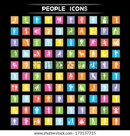 people icons set, people in different posture, flat icons set - stock vector