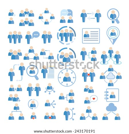 people icons set, social people icons, people network - stock vector