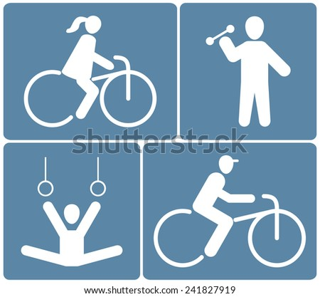 People icons set, sport white silhouette on blue background, vector illustration - stock vector