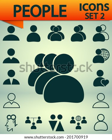 people icons, Set 2, vector illustration. Flat design style - stock vector
