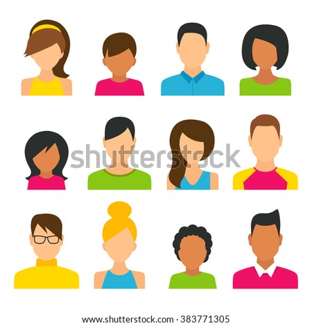People Icons Set, Women, Men and Kids, Flat Style Modern Design. Vector Illustration