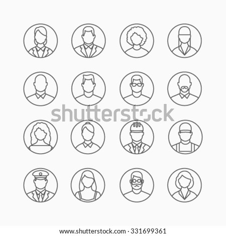 People icons, thin line style, flat design - stock vector