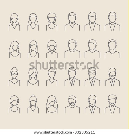 People icons thin line style. Flat design. - stock vector