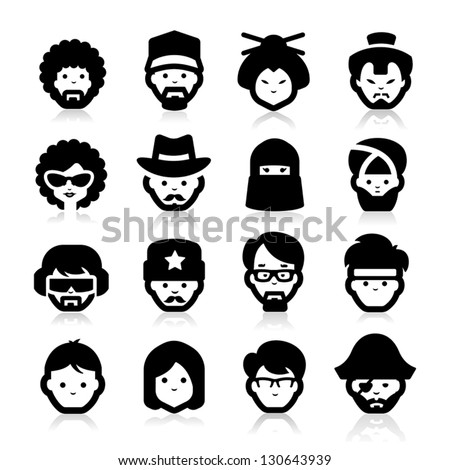People Icons two - stock vector