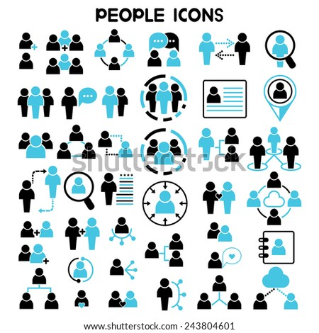 people icons vector set, people network icons, human resources and management icons - stock vector