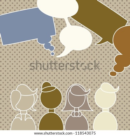 People Icons vintage background - stock vector