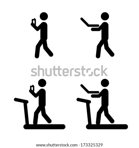 People icons: walk and work with smart phone and laptop, on a treadmill even. - stock vector