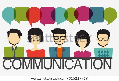 people icons with chat speech bubbles, illustration of a communication concept - stock vector