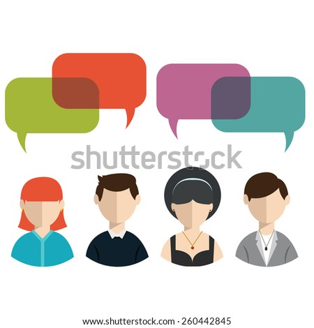 People icons with colorful dialog speech bubbles. - stock vector