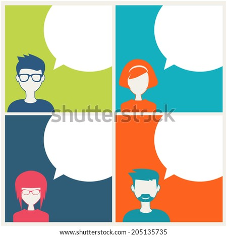 people icons with dialog speech balloon - stock vector