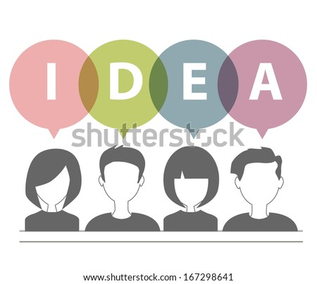 people icons with dialog speech bubbles ideas concept - stock vector