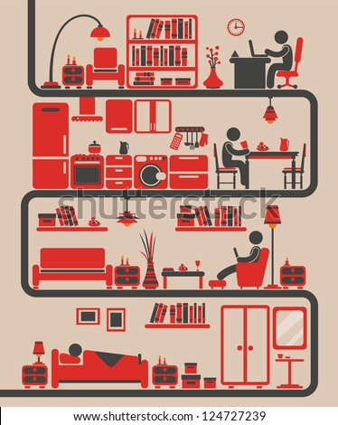 People icons with home furniture: Office, Kitchen, Living room, Bedroom. - stock vector