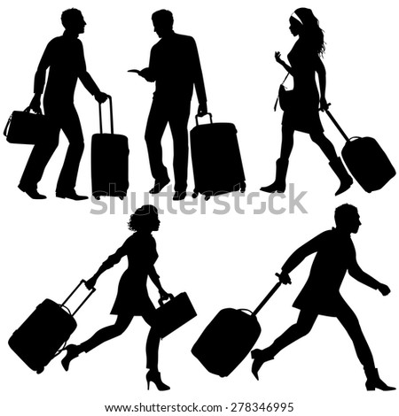 People in a hurry, on airport or station - vector silhouettes. - stock vector