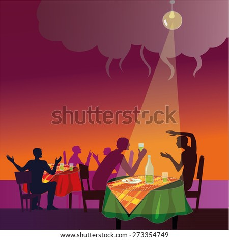 People in a restaurant vector illustration - stock vector