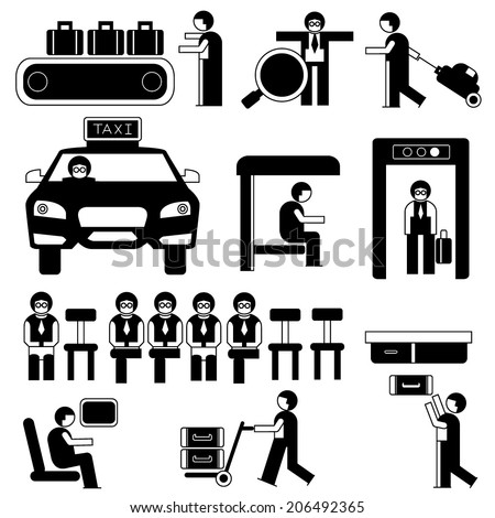 people in airport and public situations, icons set