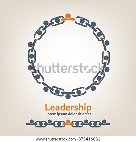 People in chain. Leadership, vector - stock vector