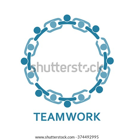 People in chain. Teamwork, vector - stock vector