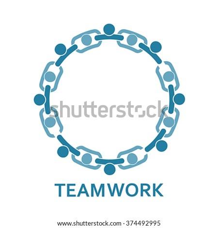 People in chain. Teamwork, vector - stock vector