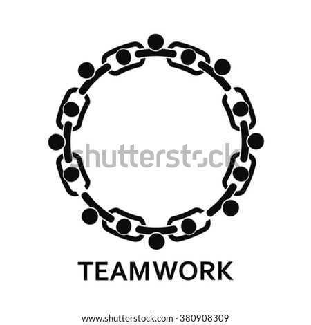 People in chain. Teamwork, vector