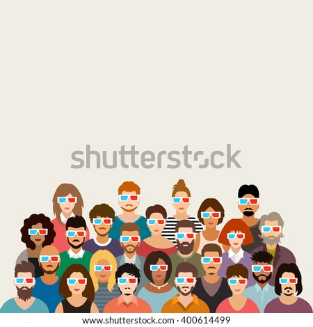 People in Cinema vector illustration