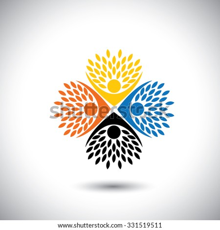 people in circle embracing tree or plant - eco concept vector. This graphic also represents harmony, creativity, sustainable development, natural balance, development, healthy growth - stock vector