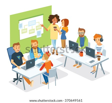 people in co-working office - stock vector