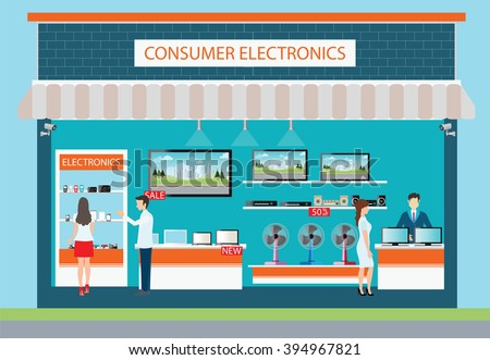 People in consumer electronics store, Electronics store interior and exterior building, laptops, mobile phones, television, Computers, pocket wifi, camera and fan on shelf ,vector illustration. - stock vector