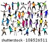 People in different positions - stock vector