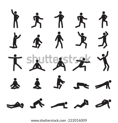 People in different positions icon set