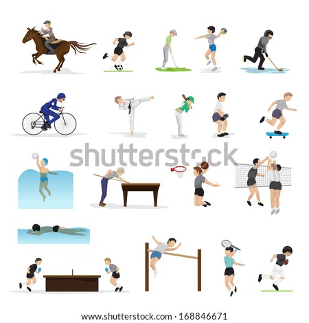 People In Different Sports And Icons Set - Isolated On White Background - Vector Illustration, Graphic Design Editable For Your Design. Group Of Person Who Are Actively Involved In Sports  - stock vector
