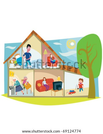 people in house - stock vector