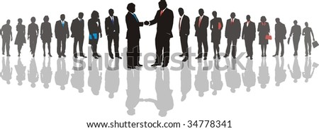 People in line silhouette, color isolated vector - stock vector