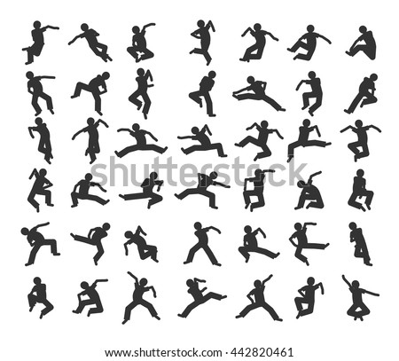 People in motion in different positions. Set of dancers silhouet