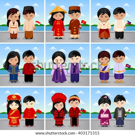 People in national dress with flag in a landscape. Traditional costume. Different national clothes. Vietnam, the Philippines, Singapore, Korea, Cambodia, China, Taiwan, Japan. Vector illustration. - stock vector