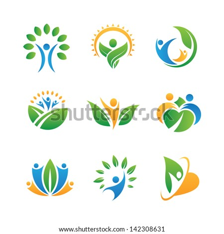 People in nature icons - stock vector
